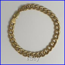 375 9ct Gold Curb Chain Bracelet 8 1/4 21cm 8g