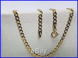 375 Hallamrked 9ct Yellow Gold 3mm Flat Curb Chain Necklace Necklet New