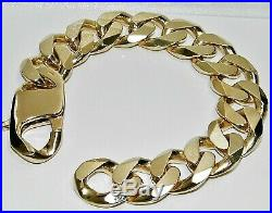 9CT GOLD ON SILVER 9.5 INCH HUGE MEN'S HEAVY CURB BRACELET 126.2g CHUNKY 20MM
