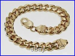 9CT GOLD ON SILVER 9 INCH MEN'S HEAVY CUBAN CURB BRACELET 57.2g CHUNKY