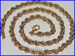 9CT GOLD & SILVER CHUNKY SOLID ROPE CHAIN 30 inch Men's or Ladies 44.0 grams