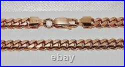 9CT ROSE GOLD ON SILVER HEAVY SOLID CUBAN CURB CHAIN 22 inch Men's or Ladies