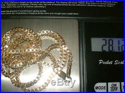 9ct GOLD BOX VENETIAN CHAIN HEAVY WEIGHS 28.12gm LENGTH 30Inch Full Hallmarks