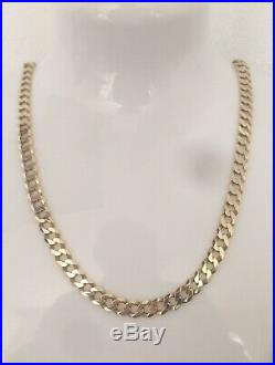 9ct GOLD CURB CHAIN 375 NECKLACE SOLID LINK HEAVY 20.7g BRAND NEW 22 WITH BOX
