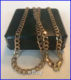 9ct GOLD CURB CHAIN NECKLACE 375 SOLID LINK 13.8g BRAND NEW WITH BOX 18 LENGTH