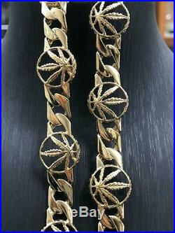 9ct GOLD Mens Miami Cuban Link Cannabis Weed Leaf CZ Necklace Box Clasp 22 9mm