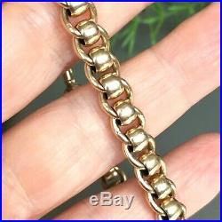 9ct GOLD ROLLER BALL SOLID CHAIN LINK SUPERB BRACELET 20.9g 7 3/4 UNISEX