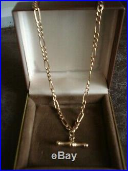 9ct Gold 18'' Chain with T Bar attached Hallmarked Necklace gold Not scrap