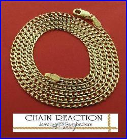 9ct Gold Curb Chain 16 Flat Diamond Cut Link Necklace Gift Box