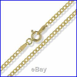 9ct Gold Curb Chain Diamond Cut Yellow Solid D/c Link Pendant Necklace Gift Box