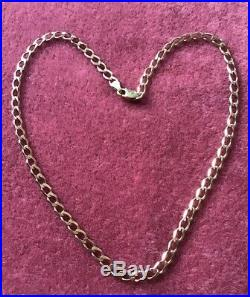 9ct Gold Flat Curb Link Chain Choker Necklace Hallmarked 5.2g Approx 14