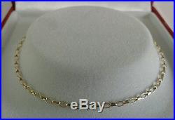 9ct Gold Ladies Solid Link Diamond Cut Mini Belcher Chain. 22Inch
