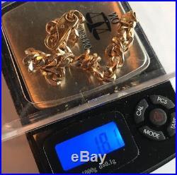 9ct Gold Men's Vintage Bracelet Length 8 Weight 18.1g Stamped Quality Solid