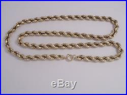 9ct Gold Rope Chain Length 24 36.8gm 0.7cm Wide Secondhand