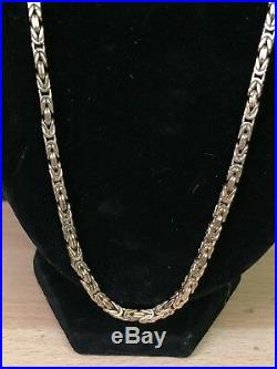 9ct Gold Square Byzantine Chain Necklace, 27.5 Grams, 19.5 inches Long