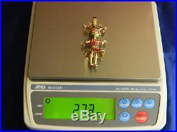 9ct Gold Womens Rag Doll Stone Set 73mm Pendant Heavy 27.3g / No Belcher Chain
