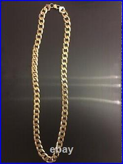 9ct Heavy Gold Curb Chain. 123grams 28.5in Long 14mm Wide