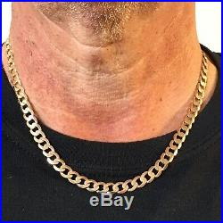 9ct ROSE GOLD CURB CHAIN MEN'S SOLID GOLD 20 1/4 SUPERB NECKLACE 30g