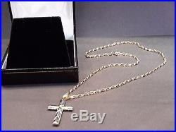 9ct gold cross and chain gents ladies gift boxed 375 hallmarked 40mm