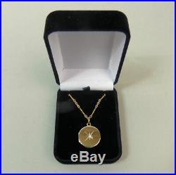 Antique 15 Ct Gold Diamond Locket Pendant & 9 Ct Gold 17 Inch Chain Birm 1914