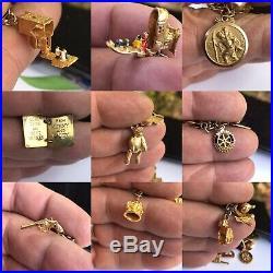 Antique 9ct Gold 40 Pieces Charm Chain Bracelet All Kind Bear Cat Scrap 72.8 Gra