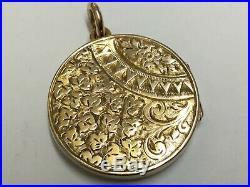 Antique 9ct Gold Chased Decoration Locket 375, 4.32g, 23mm Diameter