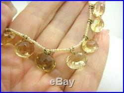 Antique Georgian Citrine & Real Pearl Choker Victorian Added 9ct Gold Chain Ext