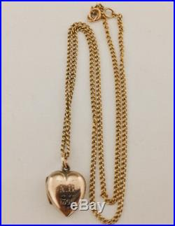 Antique Solid 9ct Gold Locket & 9ct Gold Chain 1899