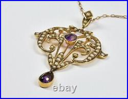 Antique Victorian 9ct Gold Amethyst /& Seed Pearl Pendant c1880
