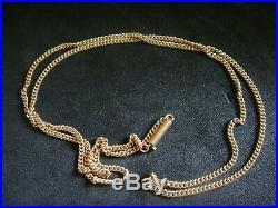 Antique Victorian Original Barrel Clasped 9ct Gold 17 1/2 Inch Chain 3 Grams