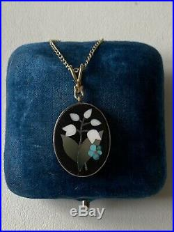 Antique Victorian Pietra Dura Mosaic Work Pendant With A 9ct Gold Curb Chain