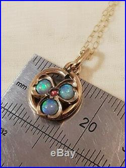 Antique Victorian edwardian opal Ruby Rolled Gold Pendant 9ct gold chain 18