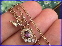 Antique/Vintage 9ct gold Natural Ruby+Rose Cut Diamonds, Bird pendant Chain 21