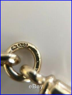 Beautiful Gents Vintage 9ct Gold Trombone Link Albert Chain Necklace With T-bar