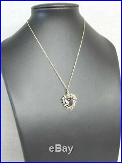 EXQUISITE ANTIQUE 9ct GOLD HEART SHAPED AMETHYST SEED PEARL PENDANT CHAIN BROOCH