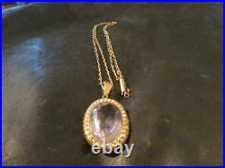 Edwardian 9ct Gold, Rose De France Amethyst & Pearl Pendant & 9ct Gold Chain