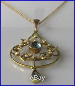 Edwardian 9ct gold blue topaz, aquamarine, multi seed pearl pendant & gold chain