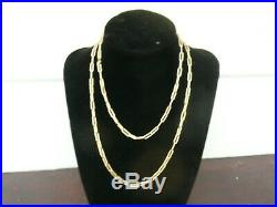 Fab Vintage 9ct Gold Trombone Long Chain Link 32 Muff Guard Necklace 12.4 Gram