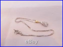Fine 1.3ct drop old cut diamond 18ct gold pendant on 9ct gold chain