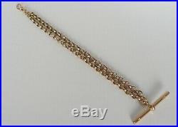 GOLD 9ct 375 c1880s CDB CHESTER HM DOUBLE STRAND ALBERT FOB WATCH CHAIN BRACELET