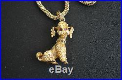 German 9K 9ct Gold Dog Pendant Set With Diamond Studded collar On 9K Chain