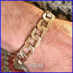HEAVY 9ct GOLD CURB BRACELET WIDE PATTERN MEN'S CHAIN LINK 69g 8 5/8 ins