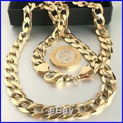 HEAVY 9ct SOLID GOLD CURB MENS CHAIN NECKLACE 61.7g 22 5/8
