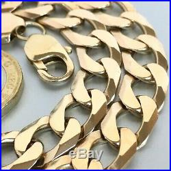 HEAVY 9ct SOLID YELLOW GOLD MENS WIDE LINK CURB 21 3/8 CHAIN NECKLACE 81.9g