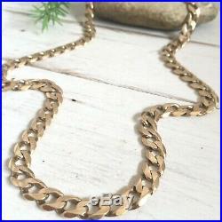 IMPRESSIVE 9ct SUBTLE ROSE GOLD HEAVY MEN'S CURB CHAIN NECKLACE 22 3/4 -65.05g