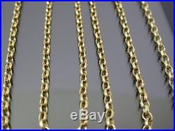 Long Vintage 9ct Gold Faceted Belcher Link Necklace Chain