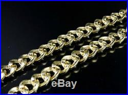 Mens 10K Yellow Gold Miami Cuban Link 8.5 MM Diamond Chain Necklace 9 ct 31 Inch