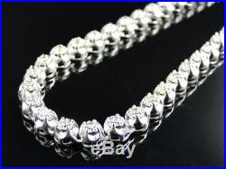 Mens Prong Set 1 Row Genuine 7 MM Diamond Chain Necklace in 10k White Gold 9 Ct