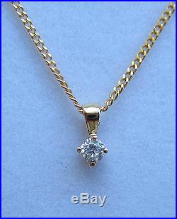 New IGI Certificated 1/10th Diamond Solitaire 9ct Gold Pendant & Chain £175