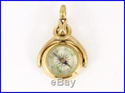 Pocket Watch Albert Chain Bloodstone Compass Fob Vintage 9ct Gold 5.9g Cg37
